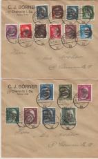 AP 781- 799, auf 2 Ortsbriefen, mit seltener Chemnitz- 3 Unkenntlichmachung!