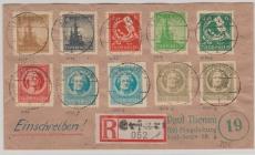 92- 99, E.- Satzbrief mit 10 versch. Werten, von Erfurt nach Magdeburg