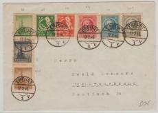 92- 99, Satzbrief mit 8 versch. Werten, von Erfurt nach Kressenbronn