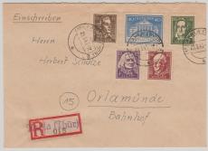 107- 111 B, auf Satz- E. Fernbrief von Kahla nach Orlamünde