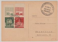 64 + 65 vom OR auf Fernpostkarte von Dresden nach Leipzig