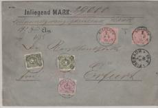 DR, 1889, Mi.- Nr.: 37 (2x) + u.a. in MiF auf Wertbrief über 29.000 Mk., von Eisenach nach Erfurt