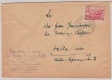86 Dwa, als EF Fernbrief von Schwanebeck nach Halle, tiefgepr. Dr. Jasch BPP