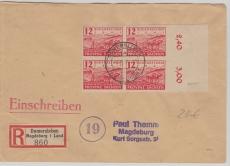 86 (4x), als MeF - E.- Fernbrief von Domersleben nach Magdeburg