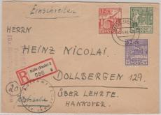 87- 89 A, MiF auf Satzbrief- Einschreiben, von Halle nach Dollbergen