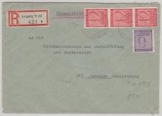 119 Y (3x) + 117, in MiF auf E.- Fernbrief von Leipzig nach Parchim