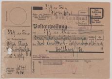 Postanweisung, 1947, Thüringen, innerhalb Stollbergs (Thürg.)