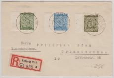 135 X, u.a. als ausgabengleiche MiF auf E.- Ferrnbrief von Leipzig nach Crimmitschau, gepr. Dr. Jasch BPP