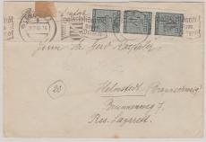 127 (3x) als reine MeF auf Fernbrief von Leipzig nach Helmstedt