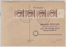 138 Y (4x), auf Portogerechter Fern- Postkarte von Leipzig nach Grimma