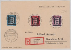 Glauchau Nr. 5, 7 + 10 auf E.- Karte