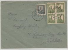 157x + 158x (4x), auf Fernbrief von Leipzig nach Raschau