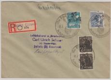 37 Ribnitz, 2 (2x), 20 + 80 Pfg. Arbeiter, auf E.- Fernbrief von Ribnitz nach Rostock