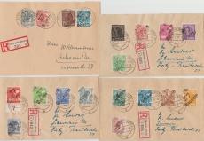 37 Schwerin, kompletter Satz (ohne 179VIII) auf 4 E. Briefen innerhalb Schwerins