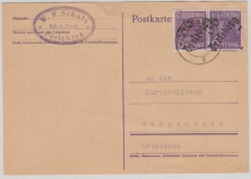 36 Perleberg, 2x 6 Pfg. Arbeiter mit Überdruck auf Fernpostkarte