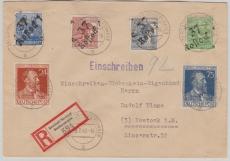 37 Rostock, 181 VIII u.a. in MiF auf Orts- E.- Brief mit Rückschein, Eigenhändig