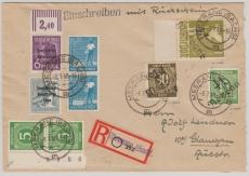 41 Meerane, IIaX, Ii X + Ip x, u.a. in MiF auf Fernpost- Einschreiben von Meerane nach Glauchau, gepr. Dr. Modry