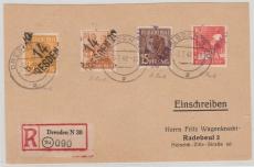 Dresden 20/42, 171 Ii u.a. in MiF auf E.- Fernpostkarte von Dresden nach Radebeul, Sign. / gepr. Rank