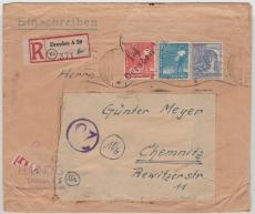 14 Dresden ... (div.!), 180 II u.a. in MiF auf E.- Fernbrief von Dresden nach Chemnitz