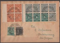 1948, Mi.- Nr.: HBL 123 ZF u.a. in MiF auf Fernbrief von Friedberg nach Haldenwang