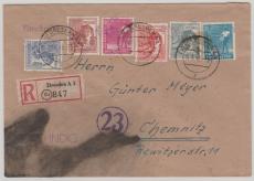 14  Dresden 20 u.a., 176 II u.a. auf E.- Fernbrief von Dresden nach Chemnitz