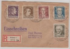 234- 38 als MiF auf Satz- E. Fernbrief, von Weimar nach Magdeburg, entwertet mit seltenem Goethestempel!