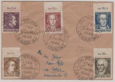 234- 38 (je vom OR!) als MiF auf Satz- Fernbrief, von Weimar nach Erfurt, entwertet mit seltenem Goethestempel!