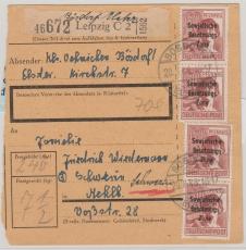 A 195 (4x) als reine MeF auf Paketkarte, sehr selten!