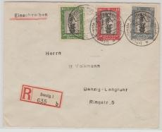 217-19 (incl. 219 c) auf MiF E.- Satzbrief innerhalb Danzigs