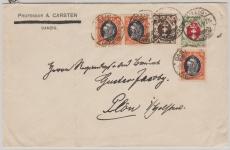 54 (3x), 74 + 79, in MIF zus. auf Fernbrief von Danzig nach Plön