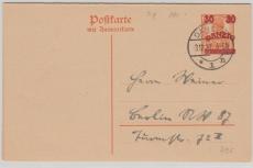 30 Pfg.- Überdruck- Antwort- GS, auf 7,5 Pfg. Germania - Urkarte, gelaufen (?)