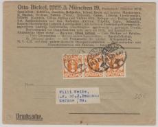 75 (3x) als MeF auf Drucksache von Danzig nach Merane, eines Münchner Absenders