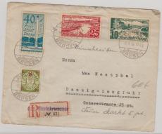 259- 261 + A241 auf Satzbrief MiF per Einschreiben von Danzig- Brösen nach Danzig Langfuhr