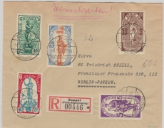 276- 280, in reiner MiF auf Satz- Fernbrief- Einschreiben von Zoppot nach Berlin