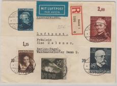306- 308 u.a. in MiF auf Einschreiben- Fernbrief von Danzig nach Berlin
