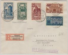 262- 66, kompletter Satz, auf Auslands- Einschreiben, von Zoppot nach Polen