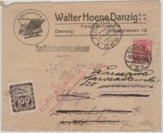 6 + Tschechische Nachportomarke + Tschechische Zusatzfrankatur rs. auf Brief Danzig nach Prag + Nachgesandt, RRR!