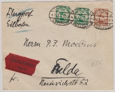 66 (2x) + 69, als MiF auf Flugpost- Eilboten- Fernbrief von Danzig nach Fulda (?)