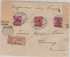 50- 52, komplette Satzfrankatur auf Lupo- Einschreiben- Fernbrief von Danzig nach Bromberg, rs. mit Kontrolle / Zensur