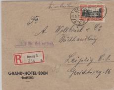 297 EF auf Einschreiben- Fernbrief von Danzig nach Leipzig