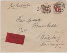 74 (vom OR) + 85, als MiF auf Eilboten Fernbrief von Danzig nach Würzburg, gepr. Infla (ER)