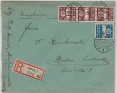 267 (3x) + 268, in ausgabengleicher MiF, auf E.- Fernbrief von Danzig nach Berlin