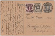 30 Pfg. Graublau, GS mit Zusatzfrankatur aus Nrn.: 76 + 93 nach Hanckow (?) bei Plau