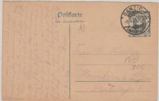 30 Pfg. Graublau, Antwort- GS Frageteil nach Hanckow (?) bei Plau