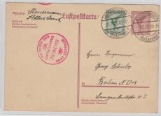 GS P168 + DR 378 in MiF als Zeppelinkarte von Friedrichshafen (mit Flugpost- Stempel!) nach Berlin, vom Steuermann