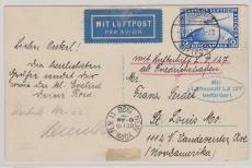DR, 1928, 423 als EF auf Postkarte von Friedrichshafen nach St. Louis, via New York