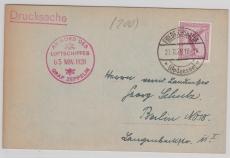 DR A379, als EF, 1928, auf Drucksachen- Postkarte via Zeppelin nach Berlin, rs. schönes Zeppelin- Foto