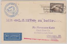 DR 424, 1929, als EF nach Chicago, befördert zur 1. Amerikafahrt, (mit Abruchstempel...), Ankunftsstempel New York
