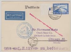 DR 423, 1929, als EF nach Chicago, befördert zur 1. Amerikafahrt, (mit Abruchstempel...), Ankunftsstempel New York