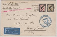 DR 382 / 84, 1929, als MiF nach Chicago, befördert zur 1. Amerikafahrt, (mit Abruchstempel...), Ankunftsstempel New York